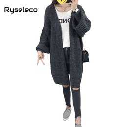 Wholesale Knit Cable Sweater - Women's Casual Long Lantern Sleeve Open Front Drape Bat Knitted Cardigan Sweaters Cable Twist Knitting Long Warm Coats Outwear