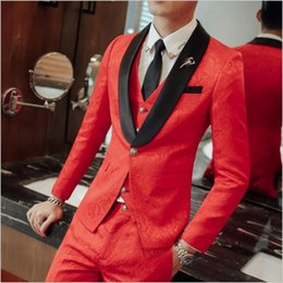 new men formal pant style Promo Codes - New Europe Style Men Wedding Three Piece (Blazer+Pant+Vest) Tuxedos Formal Bridegroom Suits Business Official Clothing Set For Sale