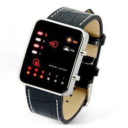 Wholesale Led Binary Watch Fashion - Men's Fashion Sports Digital Binary LED Display Faux Leather Strap Wrist Watch