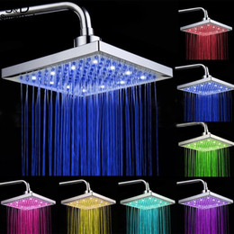 Wholesale Lighted Shower Heads Rain - Homdox 8 inch Bathroom Rain Shower Head Square Stainless Steel LED Light Shower Head Silver 7 Colors Changing #35-24