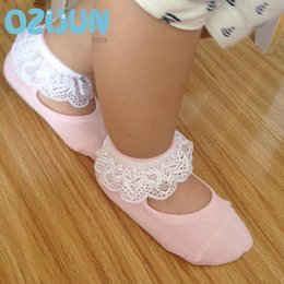 Wholesale Lace Trim Ankle Socks - one pairs girls baby kids frilly lace cotton socks ruffled soft trim ankle anklet cute toddler lovely footwear lace ballet socks