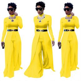 Wholesale Yellow Overalls Women - New Wide Leg Jumpsuit Women Sexy Ladies Elegant Solid Overalls Long Sleeve Femme Romper Jumpsuit Bodysuit