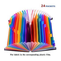 Wholesale Filing Plastic Box - 24 Pockets Expanding Files Folder Organizer Portable Business File Organizer Box Storage Bag A4 Business File Folder Bag