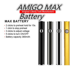 stapelgebühr Rabatt Original Amigo MAX Batterien Vape Pen Batterie Vorwärmen Variable Spannung 380mAh Bottom Charge Bottom Charged 510 Batterie für Amigo V9 Carts