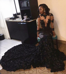 Wholesale Evening Dresses Crystal Tulle Transparent - Sexy Black Girls Prom Dresses Mermaid Lace Appliques Bling Sequin Transparent Long Sleeve African Imported Party Dress Formal Evening Gowns