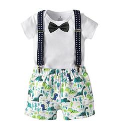 Wholesale Black Suits Suspenders - New Summer Infant Baby Boys Set Kids Cotton Rompers + Suspender Shorts Boy 2pcs Clothing Suit Children Outfits W160