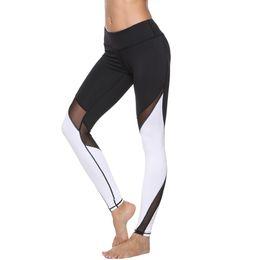 Parti invernali online-Alti pantaloni da yoga di bodybuilding elastico fanno pantaloni comprimere vicino sport nove parte yoga donna autunno e inverno