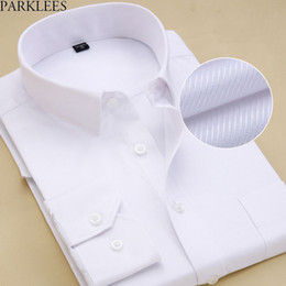 Camicia a camicia bianca online-Colletto spalmato Slim Fit da uomo Camicia Drees bianca 2018 Camice nuovissimo Camicia da ufficio sociale per uomo 8XL