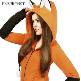 Argentina 2018 Lovely Hoodies Mujeres Sudaderas Invierno Novedad Foxes Ear Hoody Pullover Zipper Coat Anime Cartoon Cosplay Outfit Suministro
