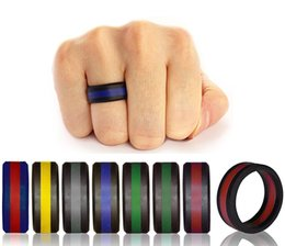Wholesale red heart gifts - Two Tone Silicone Rings With Tire Design Ring Fashion Hypoallergenic Crossfit Silicone Rubber Flexible Ring For Wedding Engagement Party