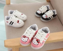 Wholesale first led - 2018 Fashion LED Hello Kitty Lighting shoes cool First Walkers Cute Baby Boys Girls Toddler Shoes Shining casual baby casual shoes