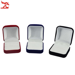 Wholesale smallest stud earrings - Fashion Small Red Black Blue Velvet Blocked Jewelry Package Box Case Insert Ring Stud Earrings Storage Packaging Gift Boxes Free Shipping