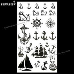 Canada SHNAPIGN Marine Pirate Anchor Temporaire Tatouage Corps Art Bras Autocollants De Tatouage 17 * 10cm Imperméable Fausse Henné Indolore Autocollant supplier anchor tattoo stickers Offre
