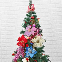 20cm artificial flowers christmas party supplies poinsettia glitter flower gold bow clip on decor xmas tree handcraft decoration