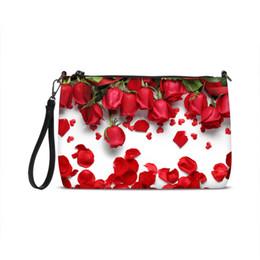 Маленькие кожаные цветочные кошельки онлайн-2018  Leather Women Messenger Crossbody Bags Small Clutch Purse Shoulder Bags Designer Rose Flower Prints Ladies Handbags