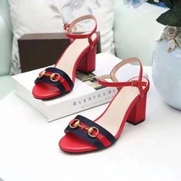Wholesale Open Toe Fashion Shoe - 2018 Popular Summer Luxury Ladies Sandals Riband Metal decoration Peep Toes Ankle Strap Chunky Heel Shoes Party Sexy Fashion Ladies Shoes