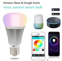 Argentina Control de voz wifi bombilla de colores de APP APP temporización wifi bombilla inteligente RGB 7 W compatible con Amazon Alexa y Google hogar DHL freeshipping Suministro