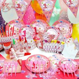 2019 padrões de iluminação exterior 83 pcs Talheres 1º Bebê Gril Festa de Aniversário Rosa Adereços Fontes da Festa de Aniversário Crianças de Luxo Rosa Adereços Decorativos
