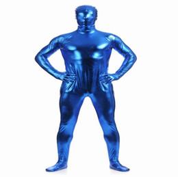 (MZS015) Medias metálicas azules brillantes para disfraces de halloween clásicos Trajes originales de fetiche Zentai unisex desde fabricantes