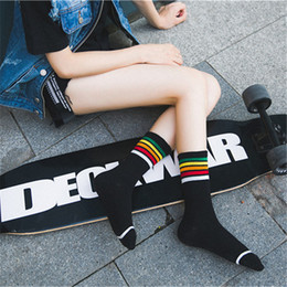 Wholesale Rainbow Acrylic - New trend autumn street style Rainbow Striped Socks All cotton college wind street strip skateboard socks unisex Harajuku Meias