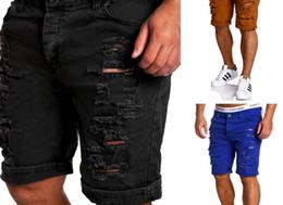 Calças baixas do quadril on-line-Homens Shorts Rasgados Na Altura Do Joelho Calças Curtas Skate Hip Hop Calças De Cintura Baixa Mens