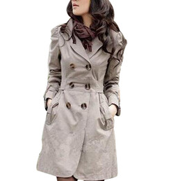 Wholesale Coat For Woman Xs - Wholesale- Trench Coat for Women 2017 Fashion Turn-down Collar Slim Fit Cotton Double Breasted Spring Coat Ladies Coat 3 Color