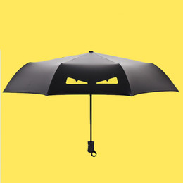 Fashion Cartoon Demon Children Umbrella Automatic Sunny Umbrella Rain Women  Black Coating Anti UV Kids 3 Folding Parasol d8fa60a14e28