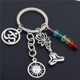 Lotus keychain online-1 stück Regenbogen Symbol Schlüsselanhänger Silber Schlüsselanhänger Yoga Chakra Schlüsselanhänger Sun Charms Lotus Ohm Schmuck E1652