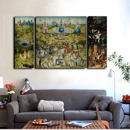 2019 hd pittura ad olio astratta donne 3Pcs Canvas Prints Wall Art - Hieronymus Bosch famoso dipinto ad olio Il giardino delle delizie terrene stampe su tela Home Decor