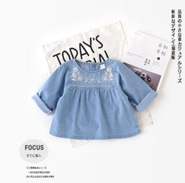 Wholesale denim shirts baby girls - 2018 INS NEW ARRIVAL Girls Kids shirt long Sleeve round collar emboridery flower denim shirts + short girl baby sets t shirt + short