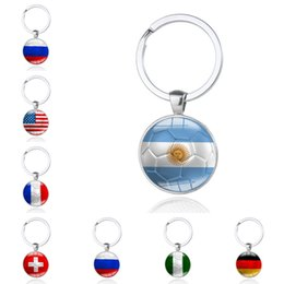 Wholesale Girls Football Hot - 2018 Russia World Cup Hot Football Keychains Key Ring Strog 32 Countrys Iran United States Soccer Key Chains Souvenir Free DHL G206S