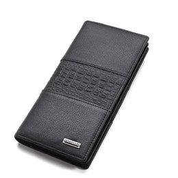 Wholesale Note Two - New Fashion Business Men's Leather Long Wallet High-quality Self-cultivation Men Two-color Multi-function Credit Card Holder Leather Wallet