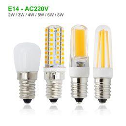 2019 lâmpadas de refrigerador 1 pcs 6 W 8 W Holofotes E14 CONDUZIU a Lâmpada Mini 2 W 3 W 4 W Lâmpadas Freezer Geladeira COB Lustre De Vidro Regulável AC 220 V desconto lâmpadas de refrigerador