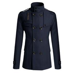 Trench à double boutonnage beige pour homme en Ligne-Millitary Double boutonnage manteau Mens solide col roulé Peacoat mâle laine manteau pardessus hommes Slim hommes veste d'hiver bleu tranchée XXXL