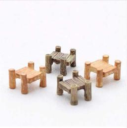 miniature in legno diy Sconti 3pcs / Set Ponte di legno Grigio Giallo Miniature Fata Figurine Resina Bonsai Micro Paesaggio Artigianato fai da te Fairy Garden Decoration