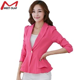 8ea91d6a06d Fashion Women Blazers Jackets Long Sleeve Blazer Spring Suit Slim Jacket  Short Casual Candy Colors Ruffles Blazers Coat YL113 L18101302