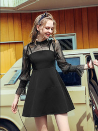 Wholesale Black Bell Sleeve Dress Xs - sexy dress for women summer wear 2018 new style the fake two piece chic midi pattern fashion braces skirt