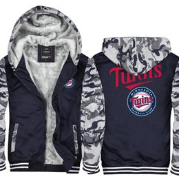 803bbe675973b Camouflage Minnesota twins logo Men Women Winter Hoodie Zipper Jacket  Sweatshirt Thicken Cardigan Coat Tracksuit Pullovers Top Asian Size