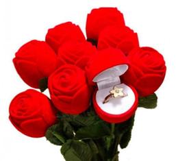 Canada Bon beau et romantique rouge rose boîte à bijoux bague de mariage cadeau boîte boucles d'oreilles support d'affichage de stockage cheap beautiful earrings for wedding Offre