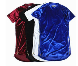 Argentina Nueva moda Hight Street hombres camisa extendida Velour Mens Hip Hop Longline camisetas Golden Side cremallera terciopelo curva dobladillo Tee supplier velvet t shirts Suministro