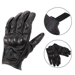 black leather race gloves Coupons - Black Unisex Non-Perforated Pursuit Street Leather Motorcycle Racing Gloves Off-road Windproof Warm Thermal Gloves Gants de moto