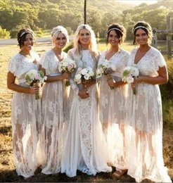 Wholesale See Through Lace Short Dresses - Bohemian See Through Lace Bridesmaid Dresses Long V Neck Short Sleeves Plus Size Wedding Guest Dresses Personalized Cheap Formal Party Gowns