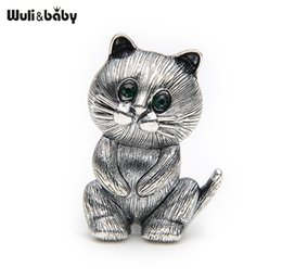 Wholesale Woman Fat Suits - whole saleLovely Fat Alloy Black Cat Brooch Suits Sweater Scarf Men And Women Brooches Pin Size 3.4*2.5CM