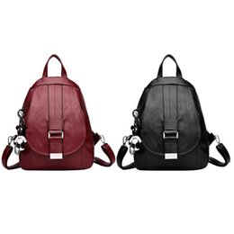d1eb82539e5c Simple Women Casual PU Leather Backpack Girl Pure Color Shoulder Bag  Fashion School Bags for Teenaer Girls Zipper Small Backpack
