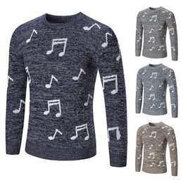 Wholesale European American Music - New Music Sweater Men Autumn pullover Slim Fit Thin Mens Knitted Sweaters Male 2018