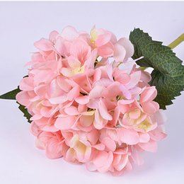 Wholesale Yellow Plastic Flowers - Fake Artificial Hydrangea Flower Plastic Silk Plants 16 Colors Real Touch Hydrangeas for Garlands Garden Office Bouquet Deco Accessories F02