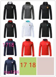 Wholesale Football Training Jackets - 17 18 top quality jax Jacket Tracksuit 17 18 Real Madrid AC Milan Track Soccer Jogging Football Tops Coat Pant Men Training Suit