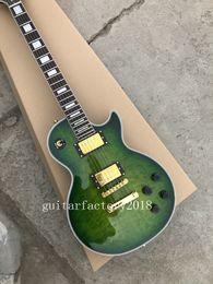 Wholesale China Guitars For Sale - green burst ebony custom shop electric guitar golden hardware China Guitar Factory sales