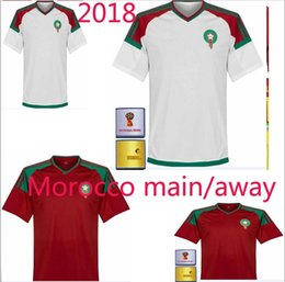 Wholesale Red Mail - ronaldo Morocco main away Camisa 2018 world cup Red soccer jerseys football shirt de futbol kit Free mail Home and away sales messi