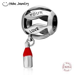 Haha bijoux votre amour est meilleur que le charme de vin Real S925 argent boule de bowling rouge charme cadeau perles Fit Pandora Charms Bracelet ? partir de fabricateur